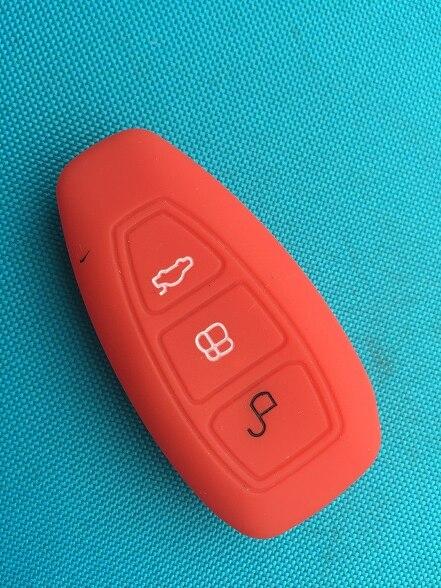 1 шт. 3 кнопки силиконовый чехол для ключей от машины чехол для Ford Focus 3 MK3 Mondeo Fiesta Kuga Escape Ecosport 2013 Smart Car style - Название цвета: Red