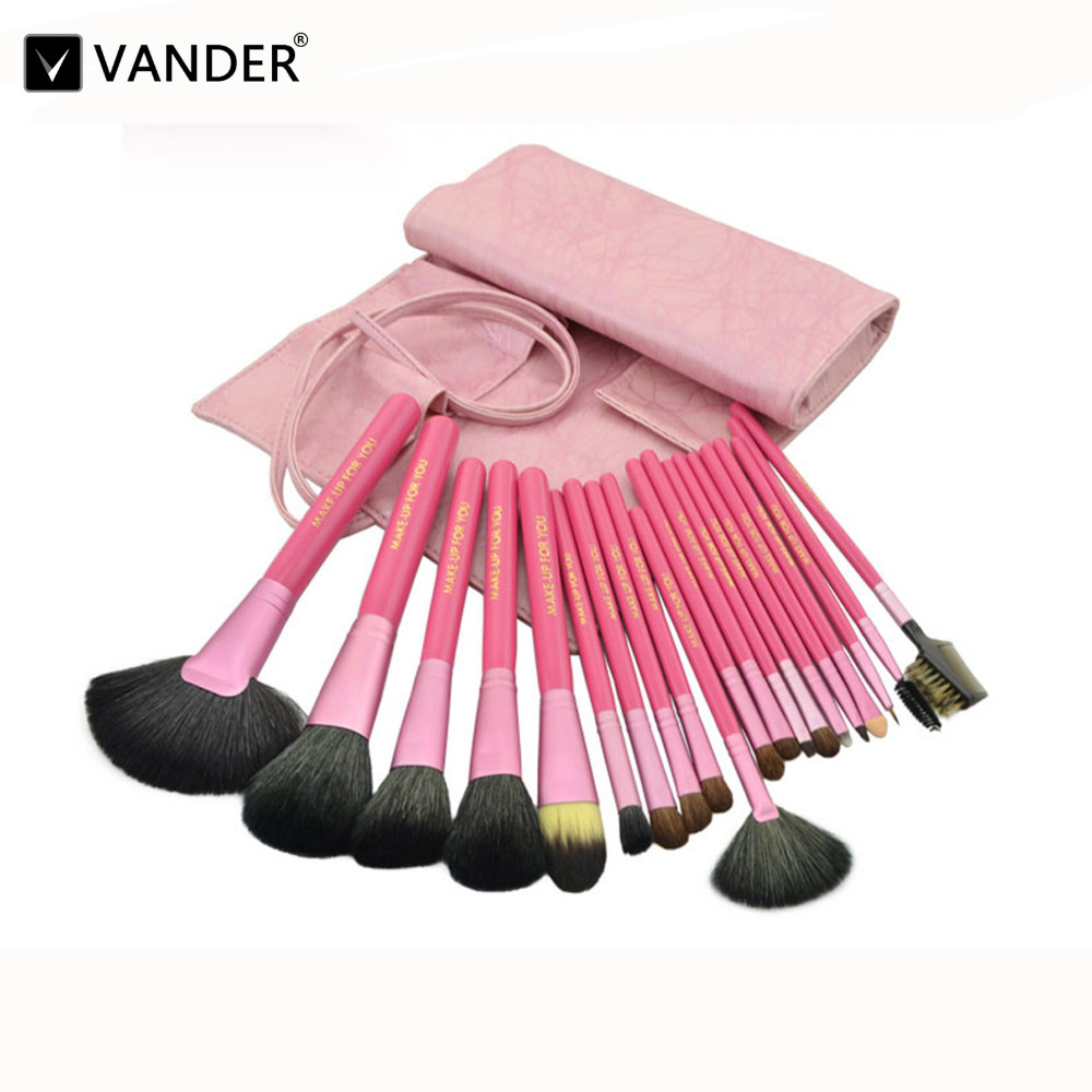 Vander 20pcs Luxurious Makeup Brush Set w/ Cosmetic Brush Bag for Eyeshadow Blending Powder Foundation Eyebrow Lip Eyeliner Tool 100cm creative slim diy mesh bag for cosmetic makeup brush 12290