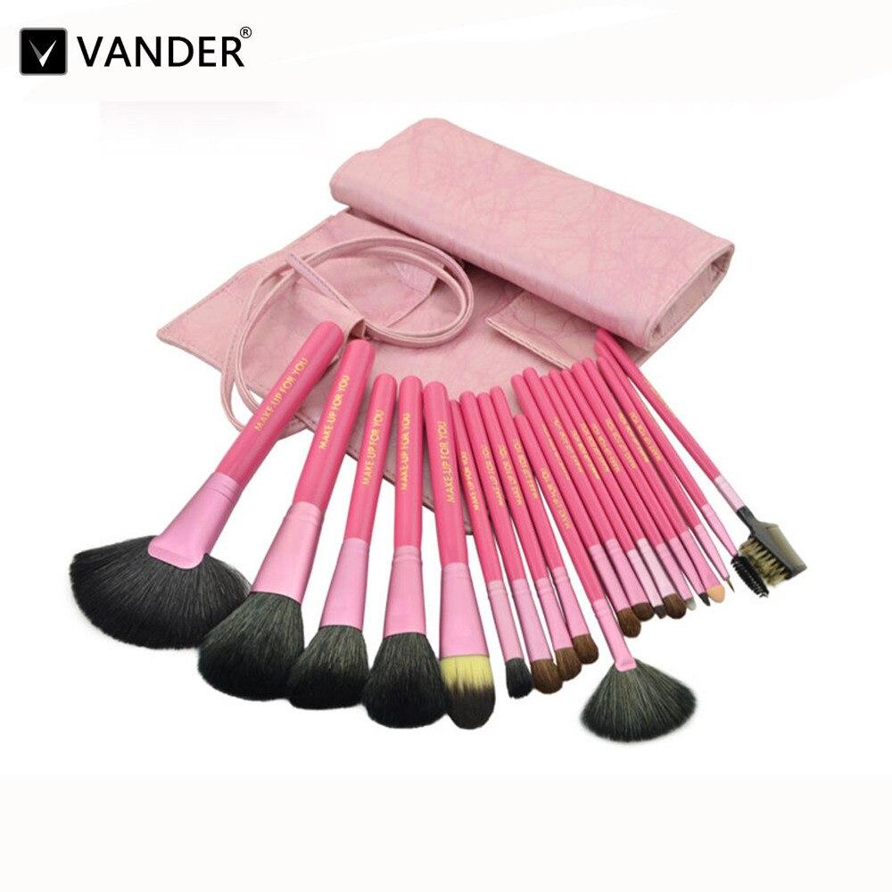 Vander 20pcs Luxurious Makeup Brush Set w/ Cosmetic Brush Bag for Eyeshadow Blending Powder Foundation Eyebrow Lip Eyeliner Tool