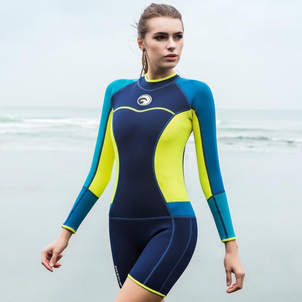 Hisea seac women 1.5mm Long sleeves neoprene one piece rashguard women wetsuit jumpsuit swimming surfing swimsuit snorkeling seac sub ласты seac team красные короткие