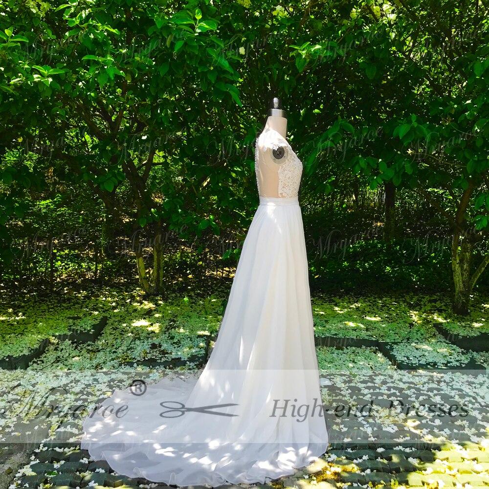 Spitze Brautkleider Chiffon Fließende Appliqued 2019 hülsen Mieder Mryarce Off Mit Kleid Strand Sheer White Split Hochzeit Kappen wqHYqP