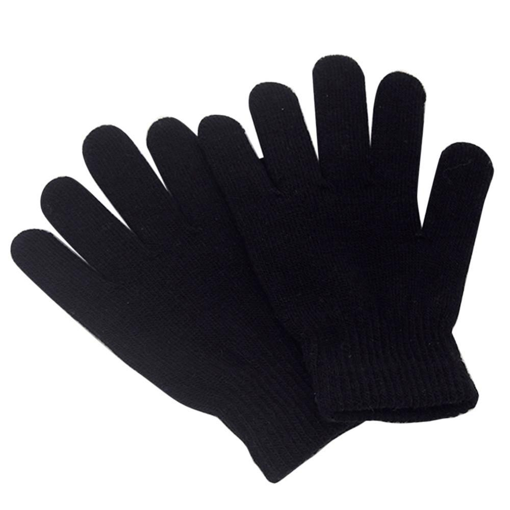Kids Magic Gloves Pair Winter Warmth Comfortable Girls Boys Acrylic Child Black