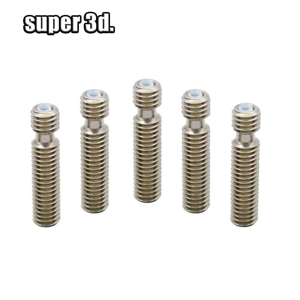 5pcs Hotend Heat Break Extruder Throat Heat Break With PTFE Pipe M6*26/30/40 Mm For Reprap MK 3D Printer 1.75mm Filament