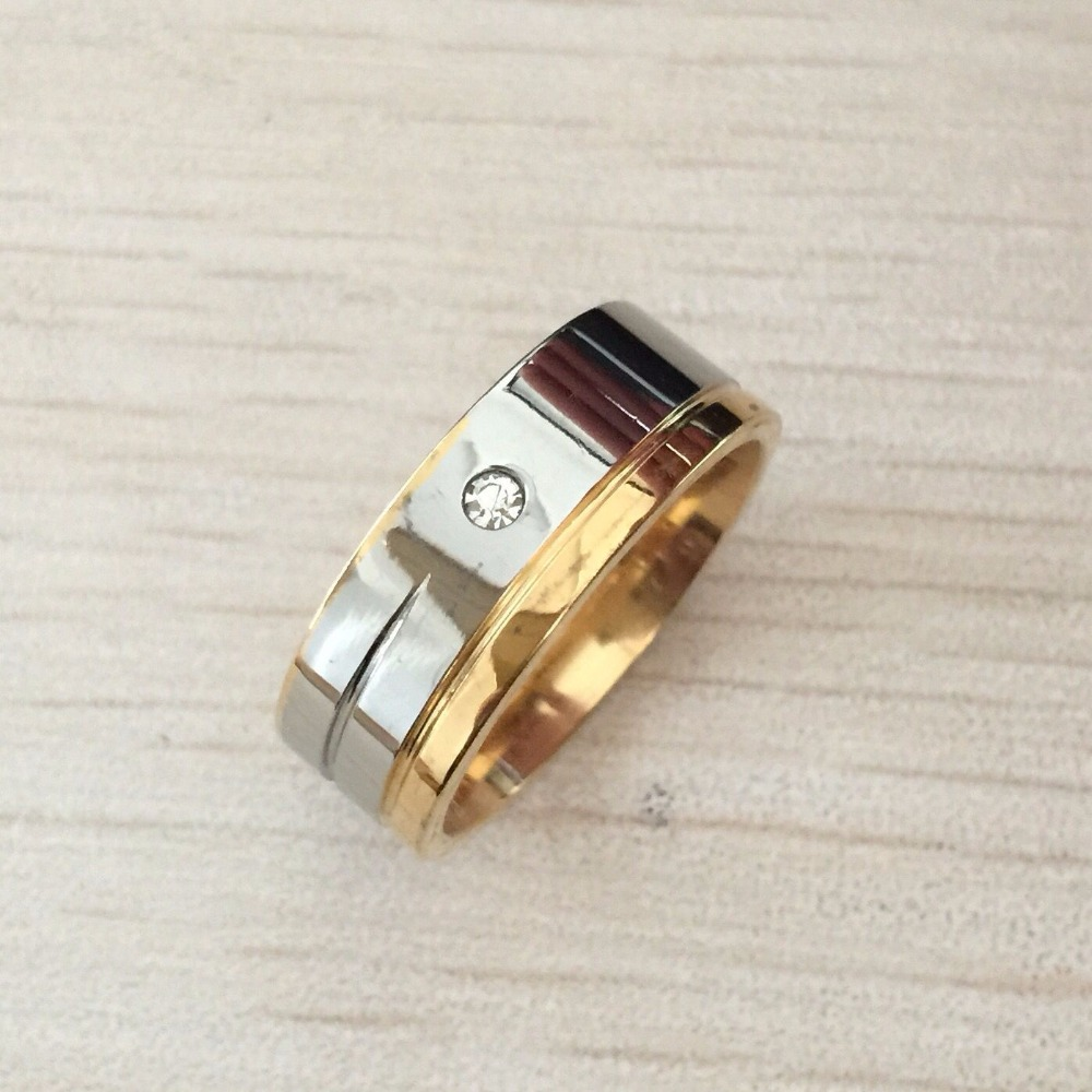 Fashion Luxury 8mm Rings Gold Silver Plated Stainless Steel Rings