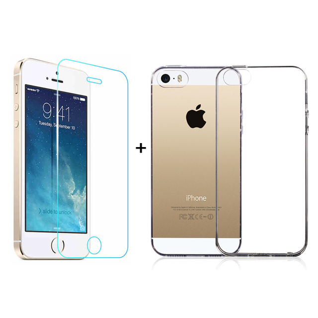 online retailer d9d9f 7661c US $1.8  Tempered glass film Screen Protector + Thin Soft TPU Protective  Silicone Back Cover Case For iphone 5s se iphone5 5c Accessories-in Fitted  ...