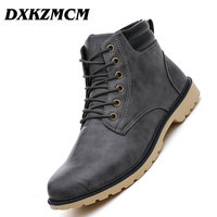 DXKZMCM Leather Men Boots Autumn Winter Ankle Boots Fashion Casual Footwear Shoes Men High Quality Vintage Men Shoes