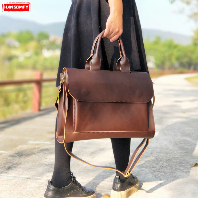 New Women Handbags Ladies Briefcase Computer Bag File Package Female Leather Shoulder Messenger Bag 14 Inch Laptop Briefcases