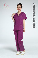 Men's and women's navy wash clothes short sleeved operating room brush hand wear beauty wear dental uniform