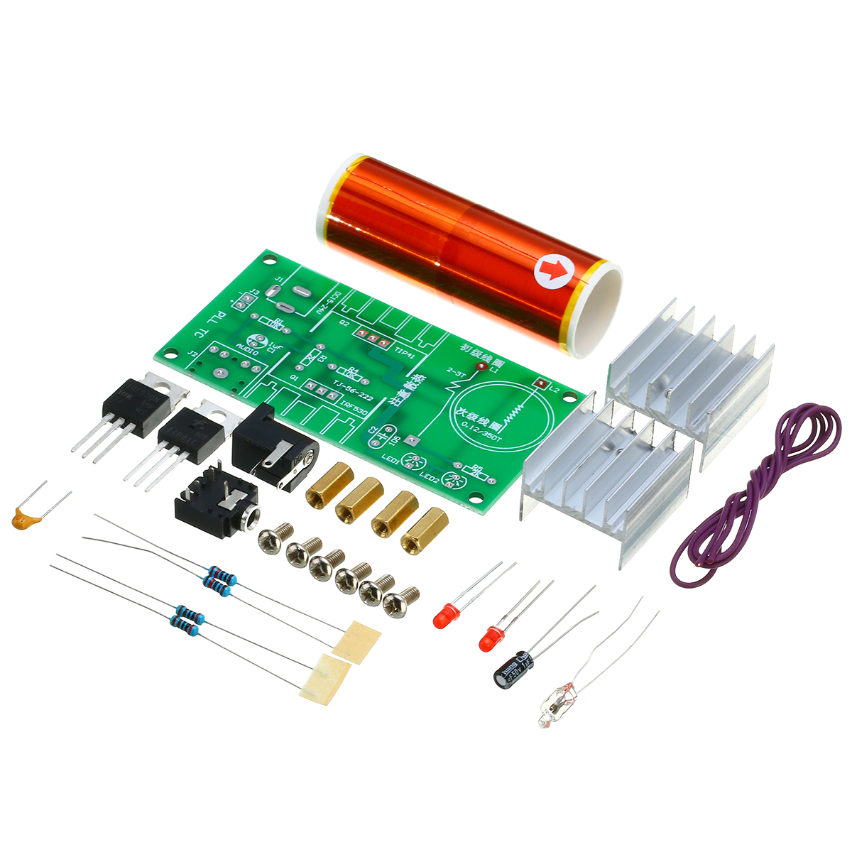 New Mini Tesla Coil Plasma Speaker Electronic Kit 15W DIY Making Parts With Stainless Ball + Metal Film Resistor + 3mm LED Set electronic component