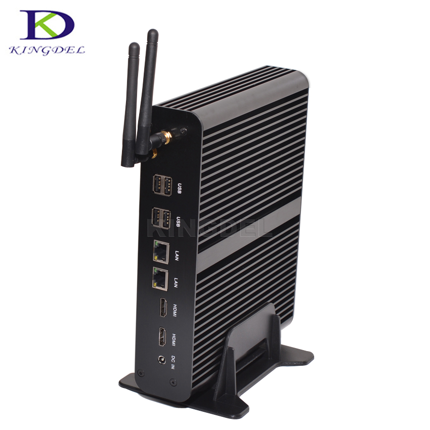 Kingdel Home Theater Personal Computer Intel 5th i7 Broadwell NUC 4K HTPC Fanless Mini Box PC 8G RAM 256G SSD Wifi Dual LAN+HDMI