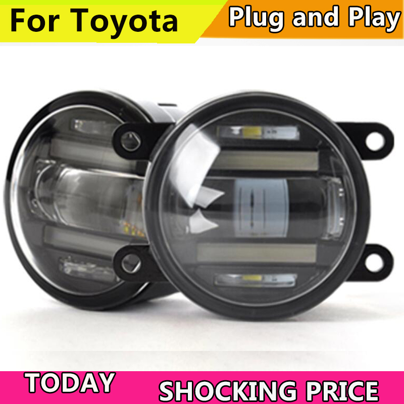 Car Styling LED Fog Lamp Assembly for Toyota camry corolla vios highlander rav4 pruis LED Fog Light Auto Fog Lamp with LED DRL 50w car auto led fog light psx26w led fog lamp