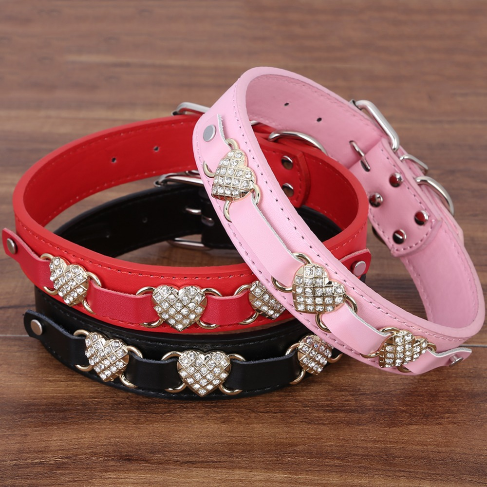 Crystal Heart Full of Rhinestone PU Leather Dog Pet Collars Size S M 3 Colors Free Shipping