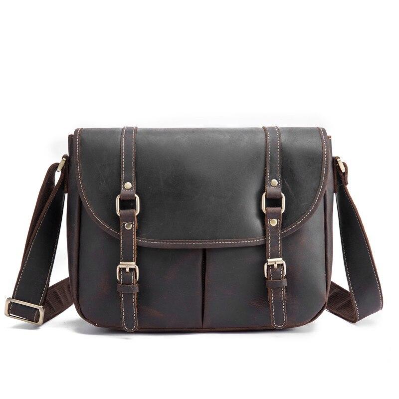 Мужская сумка мессенджер из натуральной кожи Crazy Horse Сумка через плечо мужская винтажный портфель для деловых путешествий роскошная сумка - 6