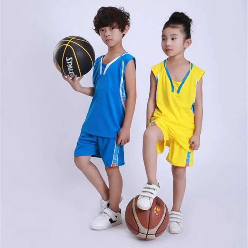 Boy Girls Sleeveless Basketball Sets , Quick Dry Kid Cheap Dragon Basketball Jersey Clothes , Youth Basketball Uniforms Clothing
