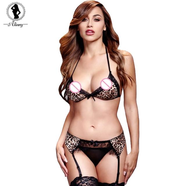 480394045 ALINRY 2018 Leopard Erotic Lingerie Mulheres Sexy Profunda V 3 Pontos Cueca  Conjunto Bandage Biquíni Lingerie