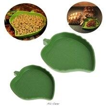 Рептилия вода еда блюдо чаша Пластик Геккон устройство подачи червя форма листа 2 размер
