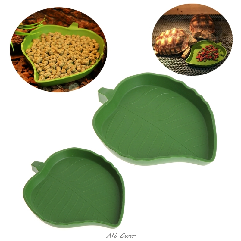 Reptile Water Food Dish Bowl Plastic Gecko Meal Worm Feeder Leaf Shape 2 Size