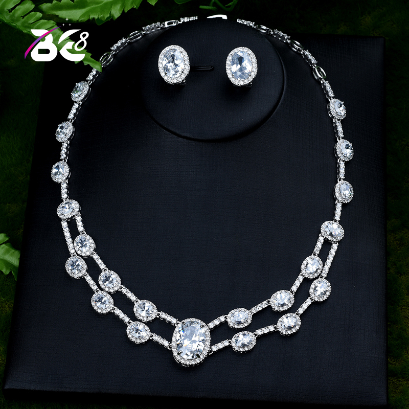 Be 8 Fashion Geometric Design  Cubic Zirconia Crystal Women Earrings Necklace Set for Brides Wedding Costume Jewelry Set S400Be 8 Fashion Geometric Design  Cubic Zirconia Crystal Women Earrings Necklace Set for Brides Wedding Costume Jewelry Set S400
