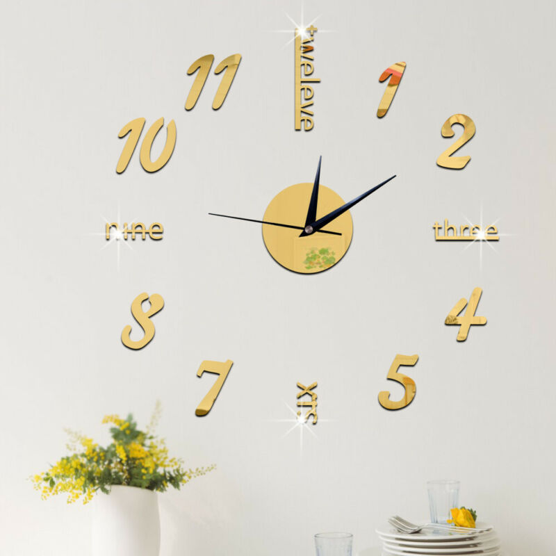 Wall-Clock 3d-Mirror-Sticker Home-Decor Office Modern Number Large DIY Art-Decal