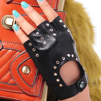 Long Keeper 2017 Fashion Half Finger Gloves Men Faux Leather Mittens Fingerless Tactical Women Driving Guantes G221