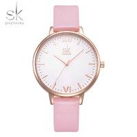 Shengke 패션 숙녀 시계 우아한 여성 손목 시계 석영 시계 얇은