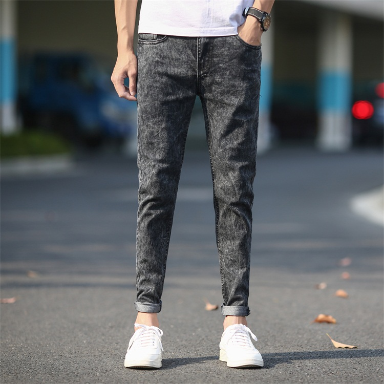 Men's Skinny   Jeans   Gray Denim   Jeans   New Fashion Men Pencil Pants Slim   Jeans   Men Spring Skinny Long   Jeans
