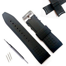 цена на 24mm Arc interface High Quality Superior Waterproof Features Silicone Watchbands Watch Strap Band