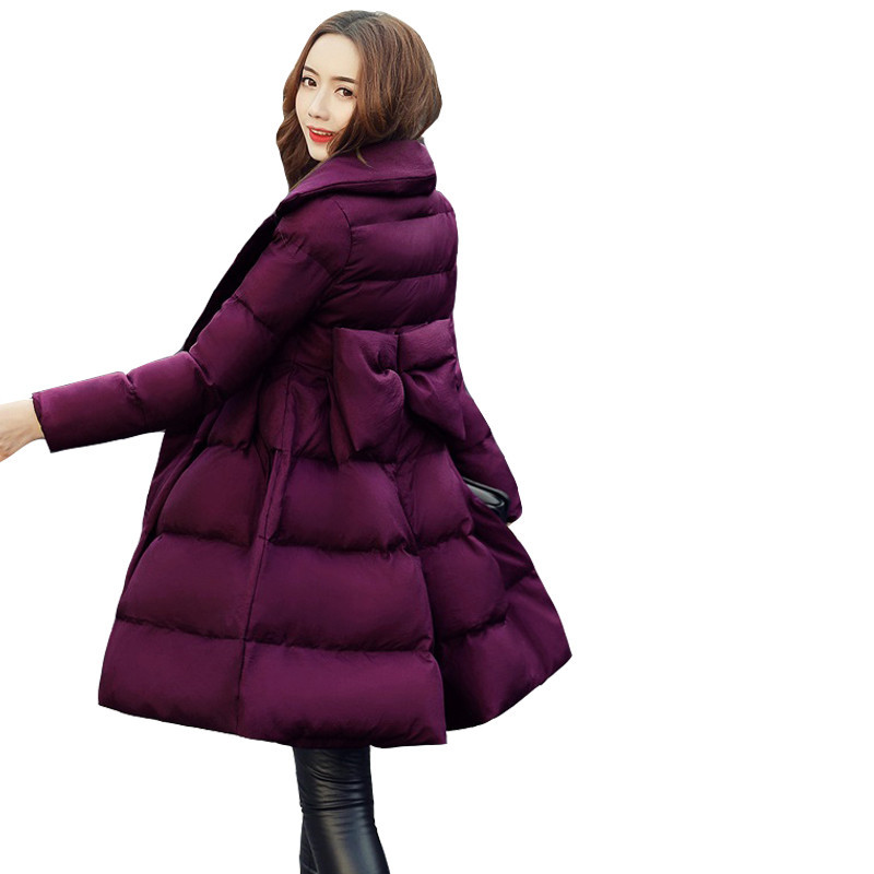 Winter Jacket 2018 Womens Down Cotton Thicker Jackets Bow Long   Parkas   Casual Warm Overcoat Female Cotton Padded Snow Coat S152