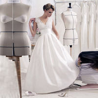 35ac7f7923929 Vestido De Noiva A Line Wedding Dress 2019 V Neck Lace Applique Bridal Gown Backless  Satin