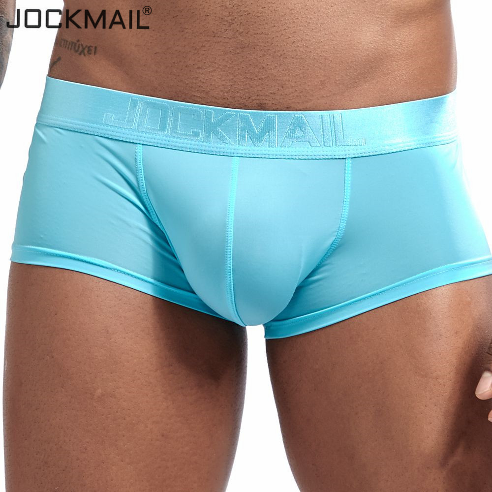 JOCKMAIL New Transparent Sexy Men Underwear Boxer Shorts Mens Trunks Ice Silk Gay Male Panties Underpants Cuecas Gay Underwear
