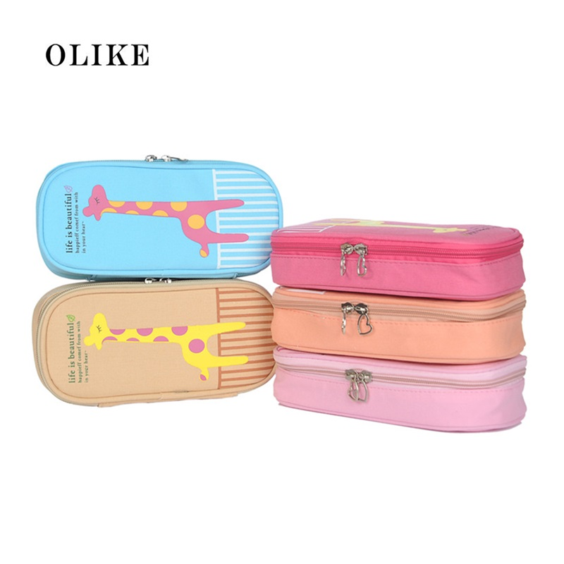 OLIKE Kawaii Big Capacity Multifunctional Canvas Pencil Cases Zipper Pen Bags Case Pouch Box for Boys Girls School Stationery цена 2017