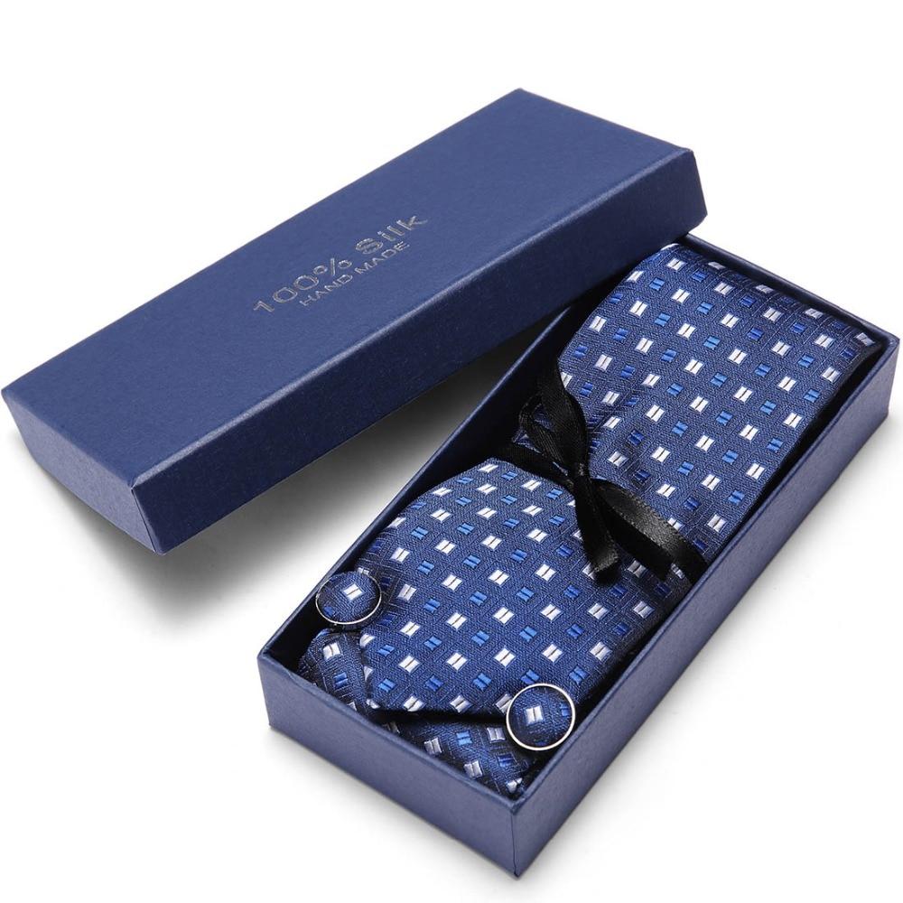 Gift Box Custom Personalize Mens Ties Hankie Cufflinks Sets Neckwear 7.5cm Paisley Cravats Striped Necktie For Men Wedding Party