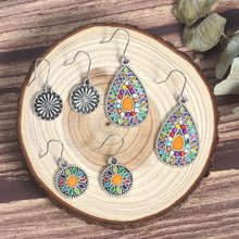 3 Pair/Set Vintage Bohemian Earrings Antique Dangle Multicolor Beads Drop Earrings For Women Boho Hanging Earrings Alloy Jewelry(China)