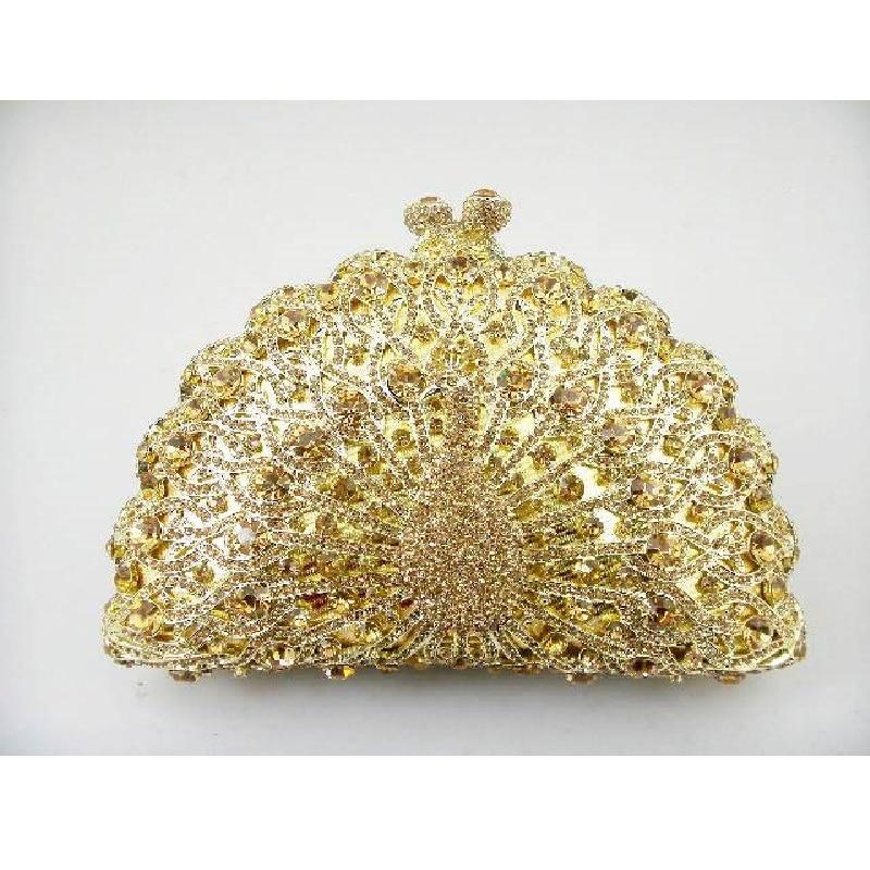 ФОТО 8105 Gold Crystal Peacock Animal Bird Wedding Bridal Party Night hollow Metal Evening purse clutch bag case box handbag