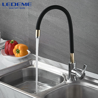 LEDEME Single Handle Kitchen Faucet Mixer Pull Out Kitchen Tap Single Hole 360 Rotate Sink Mixer