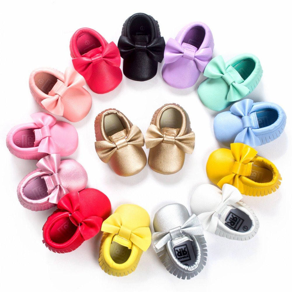 Fashion Tassel Leather Baby Moccasins Bowknot Infant Shoes Girls Toddler Shoes Soft Newborn Baby Shoes First Walker