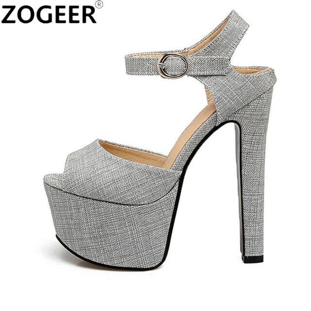 Plus Size Designer Plataforma Das Sandálias Das Mulheres 2019 Saltos Altos Extremas 48 16 CM Sapatos de Verão Mulher Sexy Ladies Partido Bombas sandália
