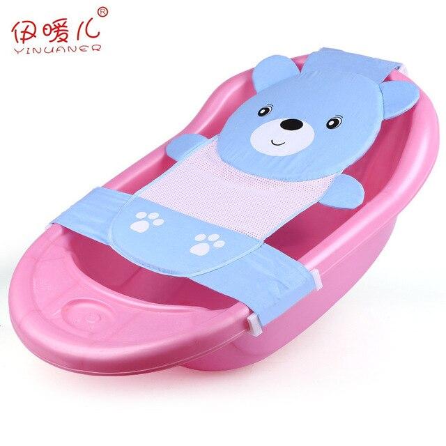 Baby Adjustable Bath Seat Bathing Mini Bathtub Seat Baby Bath Net Safety Security Seat towel Support Infant Shower Cartoon Bear