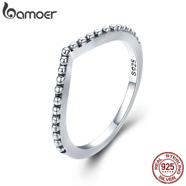 BAMOER 100% Authentic 925 Sterling Silver Water Droplet Female Finger Rings for
