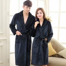 Lovers Dress for Men and Women Warm Super Soft Flannel Coral Fleece Long Bath Robe Mens