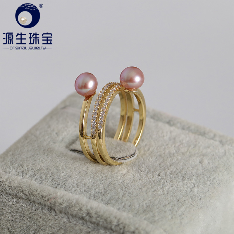YS 925 Sterling Silver Fashion Trendy DesignRing 6 6 5mm Round Natural Cultured Chinese Freshwater Pearl