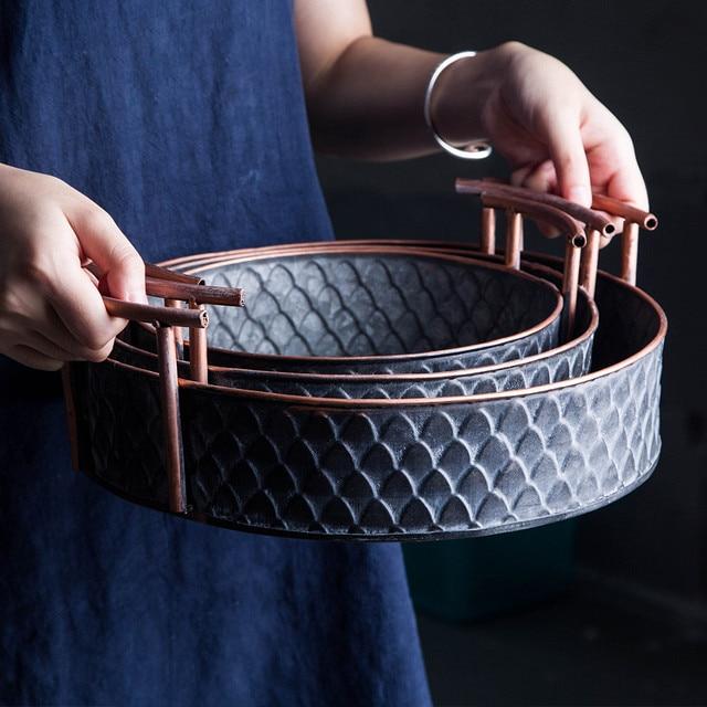 Scandinavian Metal Storage Basket with Handles Iron Vintage Elegant Luxury Desk Storage Organizer Decor Fruit Basket for Home 2