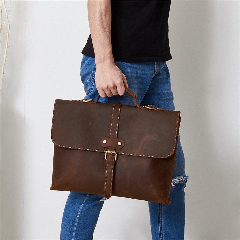 Nesitu Vintage Brown Durable Thick Genuine Crazy Horse Leather Men Briefcase Portfolio 14'' Laptop Men's Messenger Bags M6358