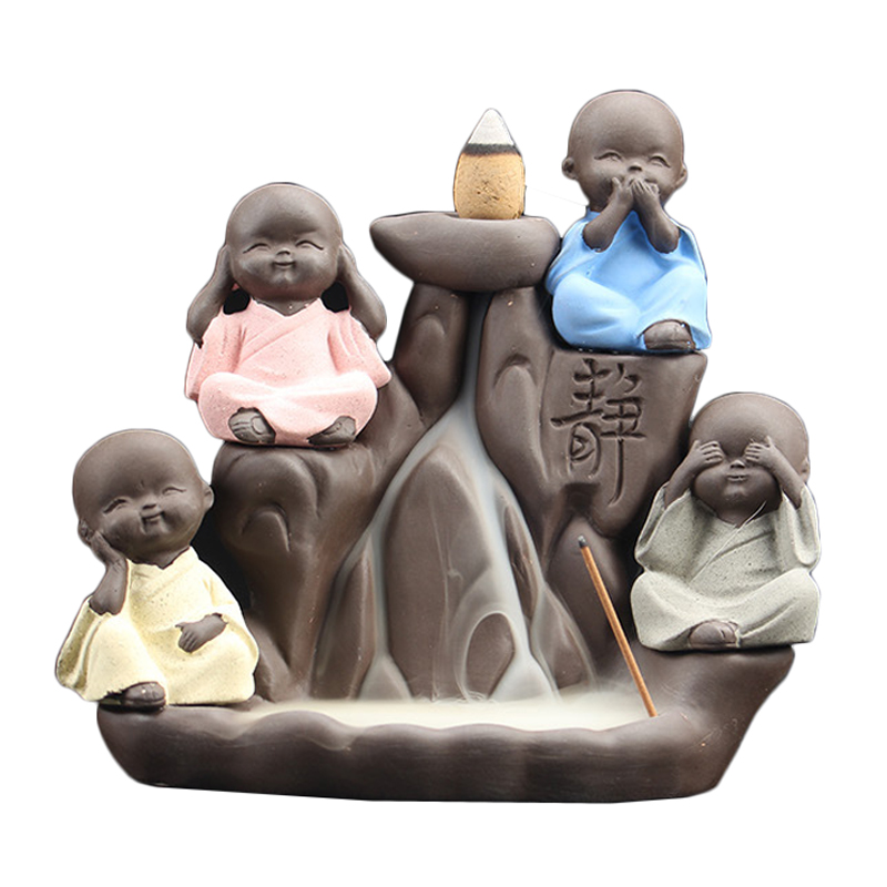 T Creative Ceramic Backflow Cone Censer 4 little Monk Indoor Home Decor Incense Burners Pour Aroma Furnace Teahouse Ornaments