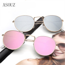 ASOUZ new ladies fashion sunglasses retro brand design round mens UV400 metal frame driving