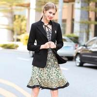 XF Autumn 2017 Designer Vintage Office Suit Set Women S Clothes Set Elegant 2 Piece Brooch