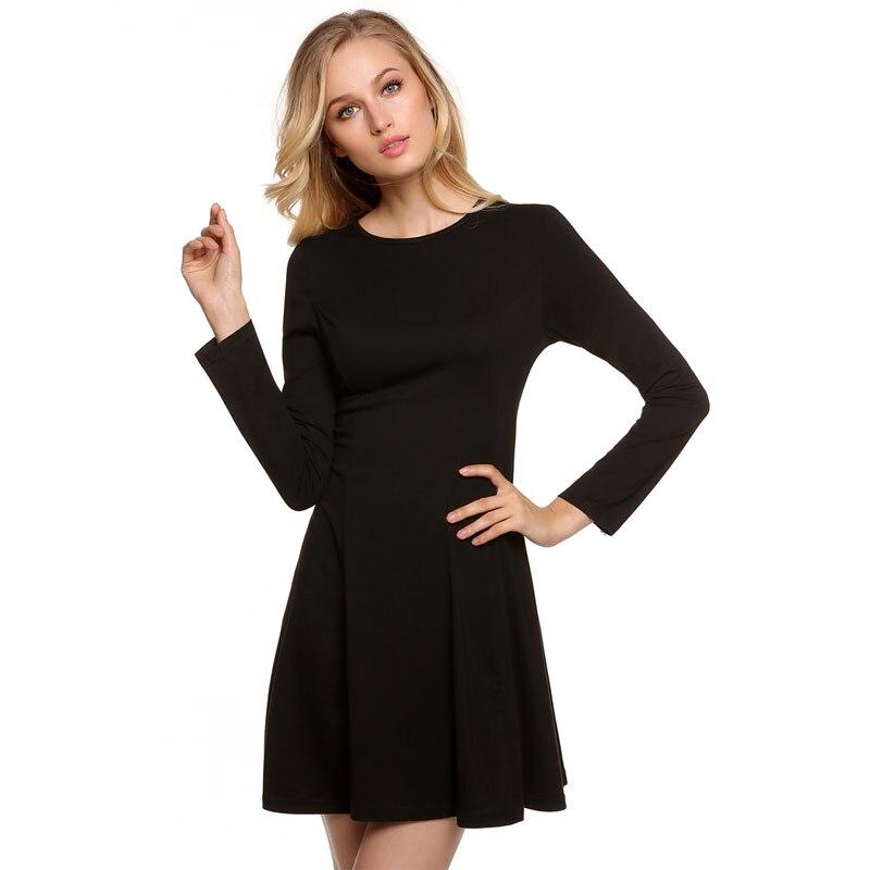 Vestido negro manga larga casual