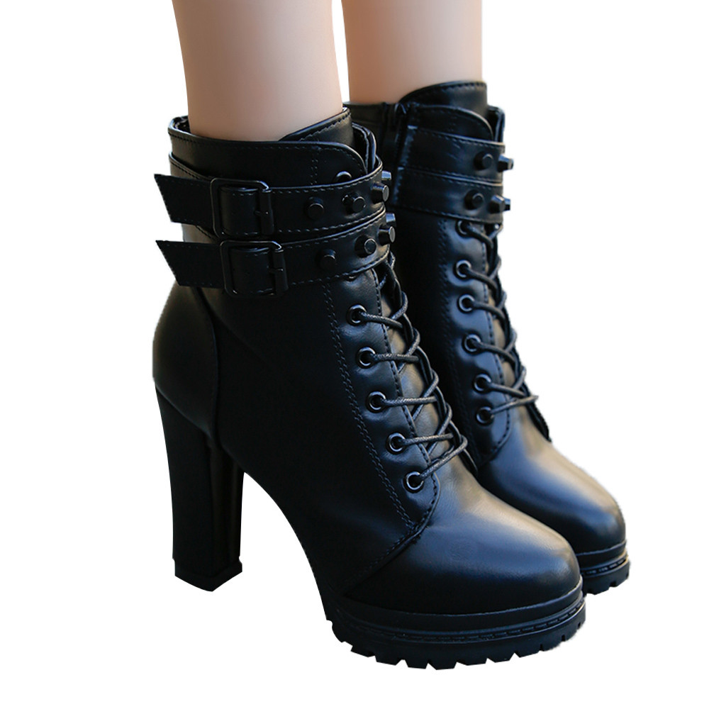 YOUYEDIAN Women Boots 2018 Ankle Boots For Women Lace Up Square Heel Winter Shoes Casual Super High Heel Boots Botas Mujer 12