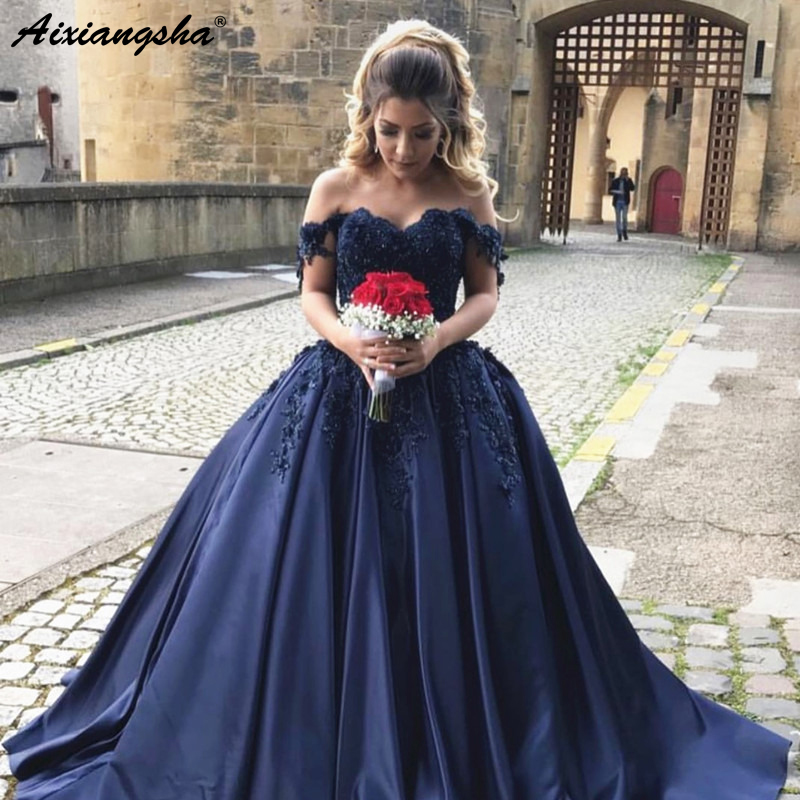 Navy Blue   Evening     Dresses   2019 Ball Gown Off the Shoulder Sweetheart Appliques Lace Satin Elegant Long Formal   Evening   Gown