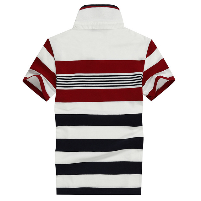 92% Cotton camisa Men Polo Shirt  2015 Casual Striped Slim short sleeves ASIAN SIZE M-4XL 4
